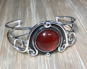 Sterling Silver Witchblade Style Bracelet, Artisan Boho Carnelian Cuff 20mm, Statement Heavy Bracelet Cuff Large, Handmade Cuff Bracelet