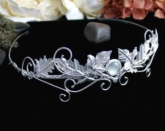 Woodland Moonstone Amethyst Sapphire Tiaras in Sterling Silver, Ivy Leaves Circlets, Artisan Handmade Woodland Bridal Tiaras, Diadem
