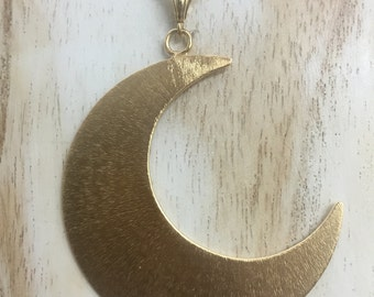 Large Statement Crescent Moon Necklace, Gold Plated Sterling Silver Bohemian Moon, Pagan Moon Necklace, 2 Inch Large Waxing Waning Moon