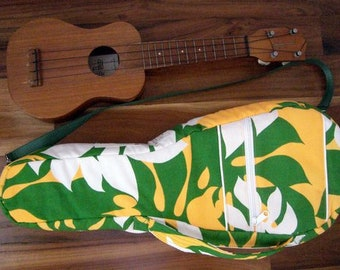 Vintage Hawaiian Fabric Ukulele Bag/Case for Soprano ukulele - Handmade in Hawaii - Hawaiian fabric