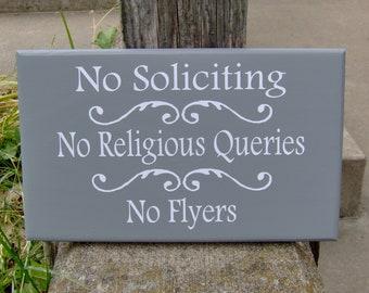 No Soliciting No Religious Queries No Flyers  Wood Sign Vinyl Sign Door Hanger Porch Wall Hanging Yard Sign Front Door Decor Do Not Disturb