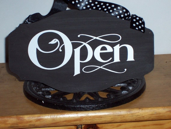 Open Closed Wood Vinyl Sign Custom Signs Office Supply Office | Etsy