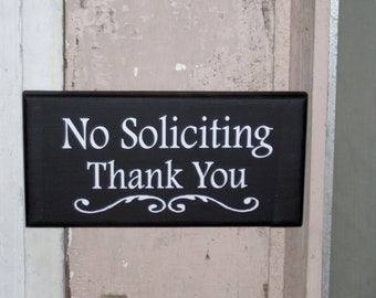 No Soliciting Thank You Wood Vinyl Sign Door Hanger Wall Hanging Everyday Porch Decor Garden Yard Sign Do Not Disturb Private Property Gift