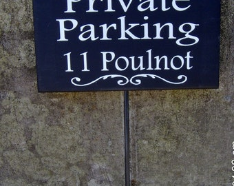 Private Parking House Number Address Street Name Sign Wood Vinyl Stake Sign Driveway Signs Yard Sign Garage Sign Personalized Drive Sign Art