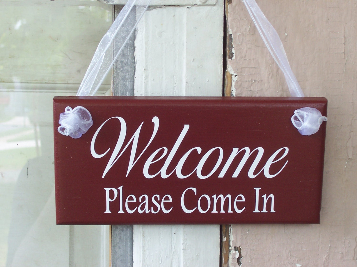 Welcome Please Come In Wood Vinyl Sign Business Office Etsy