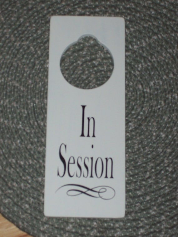 in session wood vinyl sign door hanger business retail shop etsy