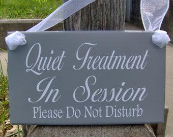 Quiet Treatment In Session Please Do Not Disturb Door Hanger Wood Vinyl Door Sign Office Sign Spa Salon Therapy Massage Office Door Decor