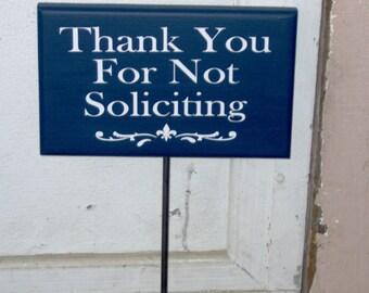 Thank You Not Soliciting Wood Vinyl Stake Sign Fleur De Lis Design Navy Blue Outdoor Yard Art Yard Sign Garden Decor New Home Gift Lawn Sign