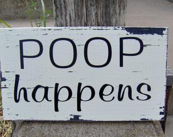 Poop Happens Distressed Farmhouse Rustic Wood Vinyl Sign Bathroom Home Decor Shelf Sitter Block Sign Powder Room Wall Hanging Wall Decor
