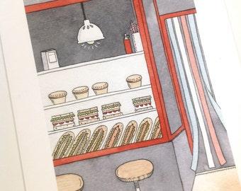 The Sandwich Bar - Giclee print of original illustration
