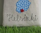 Helsinki - zippered pouch with applique