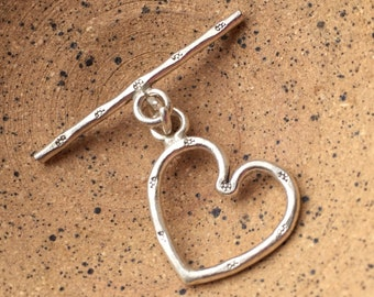 Heart Shaped Toggle Clasp Hill Tribe Silver 18mm with 30mm bar closure Mygardenoflove HTSHTC1