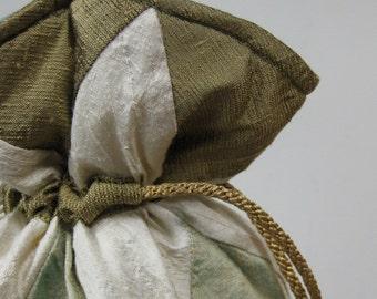 Bronze, Ivory, Verdigris Green Patchwork Silk Drawstring Bag