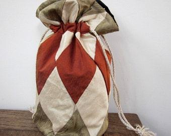 Bronze, Ivory, Rust Patchwork Silk Drawstring Bag