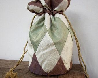 Plum, Ivory, Verdigris Green Patchwork Silk Drawstring Bag
