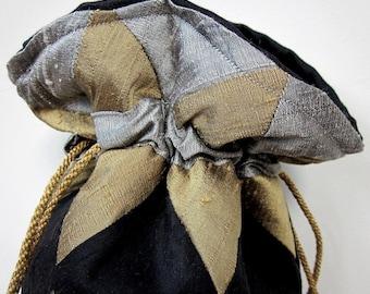 Silver, Bronze, Black Patchwork Silk Drawstring Bag