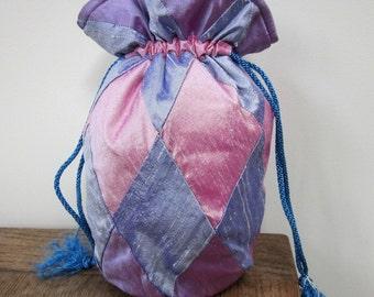 Purple, Lilac, Pink Patchwork Silk Drawstring Bag