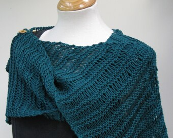 Summer Cotton Ruana in Teal