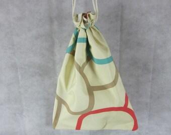 Red Aqua Circles Drawstring Beach Bag