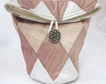 Pearl Grey, Rose and Shell Pink Patchwork Silk Bag