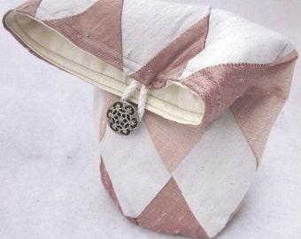 Rose, Pearl, Shell Pink Patchwork Silk Drawstring Bag