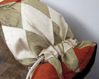 Rust, Bronze, Ivory Patchwork Silk Drawstring Bag