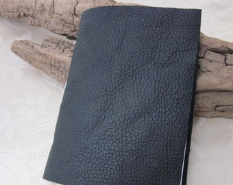 Small Black Handstitched Leather Notebook