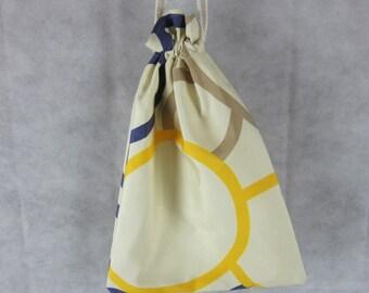 Blue Yellow Circles Drawstring Beach Bag