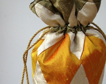 Bronze, Ivory, Gold Patchwork Silk Drawstring Bag