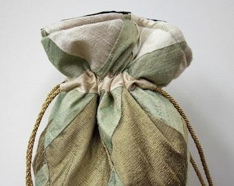 Ivory, Verdigris, Bronze Patchwork Silk Drawstring Bag