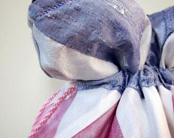 Lilac, White, Pink Patchwork Silk Drawstring Bag