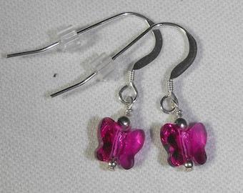 Fuchsia Swarovski Butterfly Earrings on Sterling Silver Ear Wires