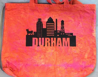 Hand-dyed heavy cotton tote with Durham design
