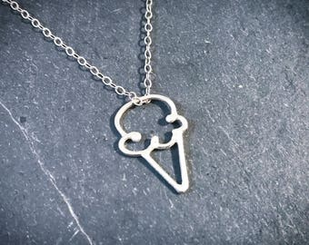 Petite Ice Cream Necklace - Sterling Silver