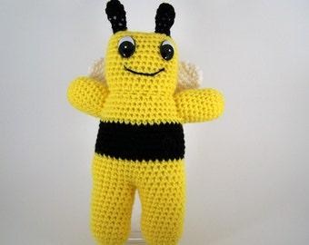 Crocheted Bumblebee , amigurumi plush stuffed Bumblebee , stuffed animal Honeybee - Braxton Bumblebee