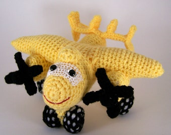Crocheted Amigurumi airplane, plushie aircraft , stuffed airplane toy  MADE TO ORDER