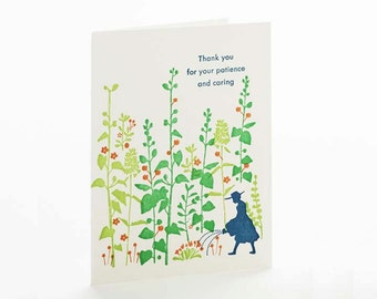 """A2  letterpress card """"Thanks for your patient & Caring"""""""