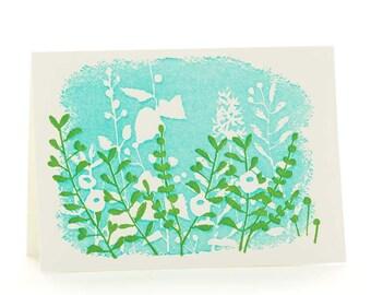 White flowers set of 6 letterpress cards