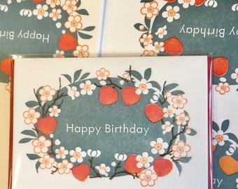 "Peach ""happy birthday"" Letterpress note card"