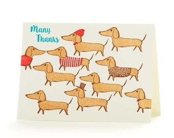 "4B Dachshunds ""Many Thanks "" set of 6 letterpress cards"