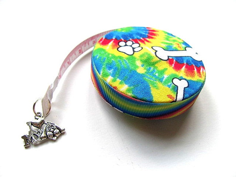 Measuring Tape with Rainbow Tie Dye Dog Paws Pocket Retractable Tape Measure