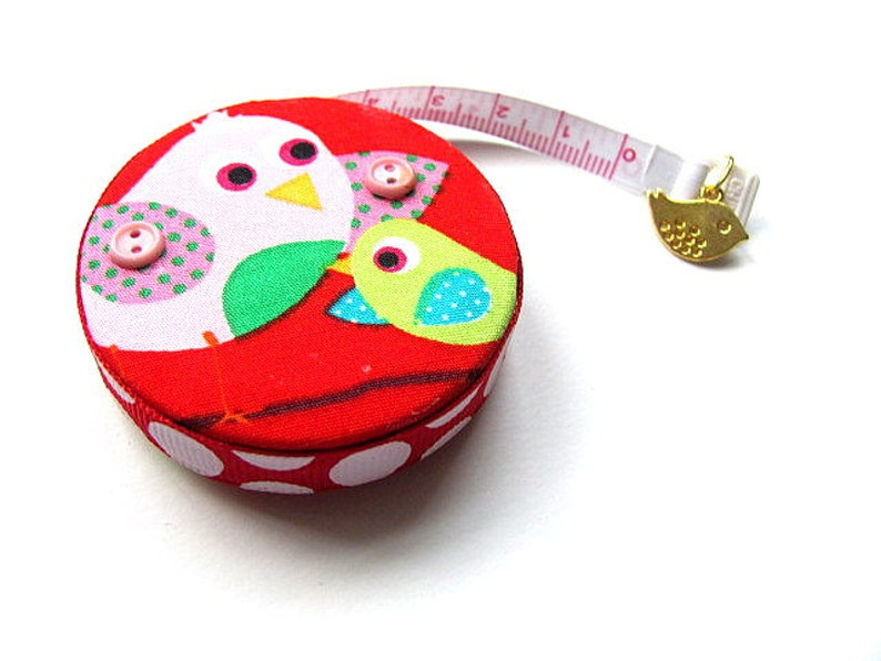 Measuring Tape Birds on Red Small Retractable Tape Measure
