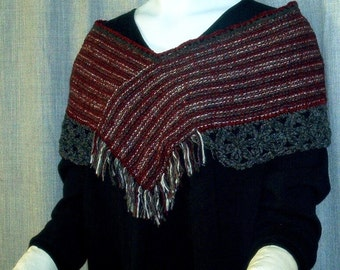 A - Ponchette- Wool and silk blend handwoven with crocheted trim
