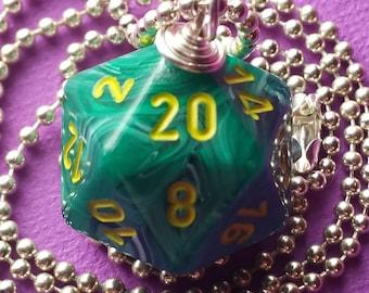 NEW STYLE - Dungeons & Dragons - D20 Die Necklace - Vortex Malachite/Yellow