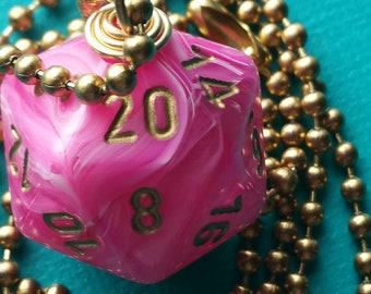 NEW STYLE - Dungeons & Dragons - D20 Die Necklace - Vortex Pink/Gold