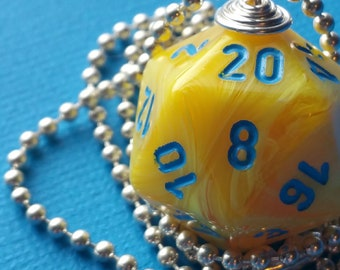 NEW STYLE - Dungeons & Dragons - D20 Die Necklace - Yellow with Blue Vortex