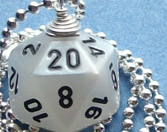 D20 Dice Pendant - Pearl White - Geek Gamer DnD Role Playing RPG