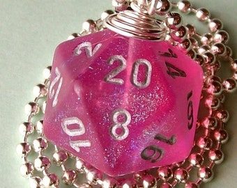 LEGACY Dungeons and Dragons - D20 Die Pendant - Pink Borealis - Glitter Girly Geek Gamer DnD Role Playing RPG