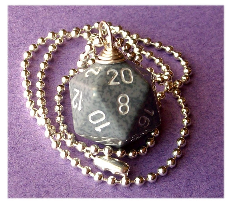 D20 Dice Pendant  Dungeons and Dragons  High Tech  Gray image 0