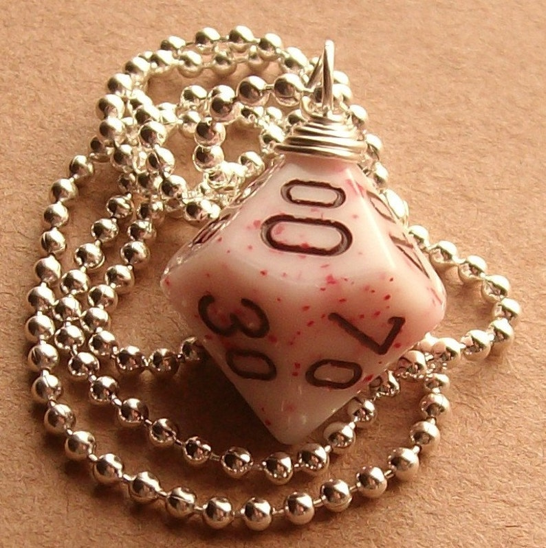 Dungeons and Dragons  D10 Die Pendant   Peppermint image 0